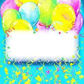 Birthday pozadí s barevnými balónky a konfety w