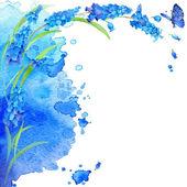 Akvarell virág és pillangó az elmosódott háttér