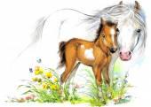 Aquarell-Pferd-Mama und baby