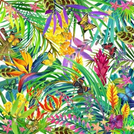 Photo pour Feuilles tropicales, fleurs et papillon. fond floral d'été d'aquarelle - image libre de droit