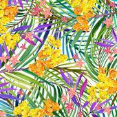"""Постер, картина, фотообои """"Тропический листья, цветы и бабочки."""""""