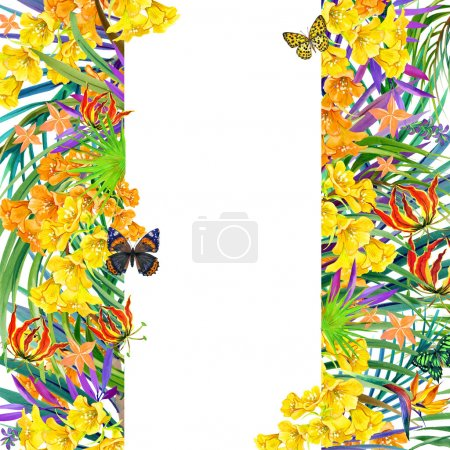 Tropical leaves and exotic flower.
