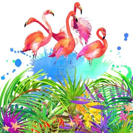 Photo pour Les fleurs tropicales, des feuilles et des oiseaux. fond de nature été aquarelle - image libre de droit