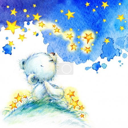 Photo for Teddy bear and stars background. watercolor - Royalty Free Image