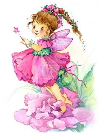 Photo pour Kid flower Fairy. watercolor drawing - image libre de droit