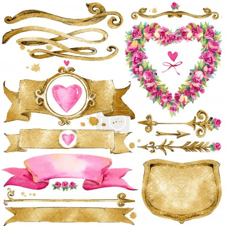 Photo for Decoration elements for Wedding, Valentine's day, Birthday card. watercolor illustration - Royalty Free Image