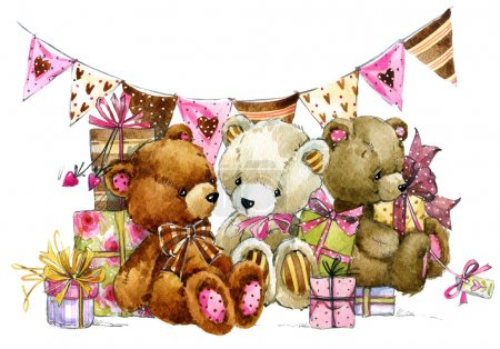 Teddy bear and background for kids Birthday