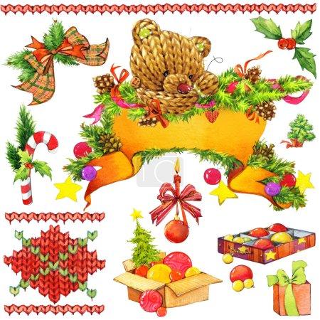 Photo pour Nouvel an et éléments de décoration de Noël pour le design. dessin aquarelle - image libre de droit