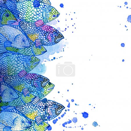 Sea fish watercolor background