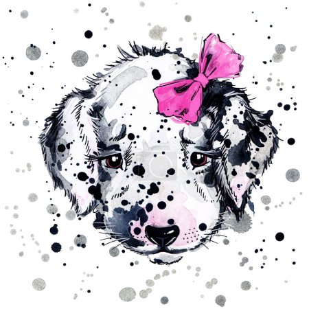 Funny puppy with watercolor splash background
