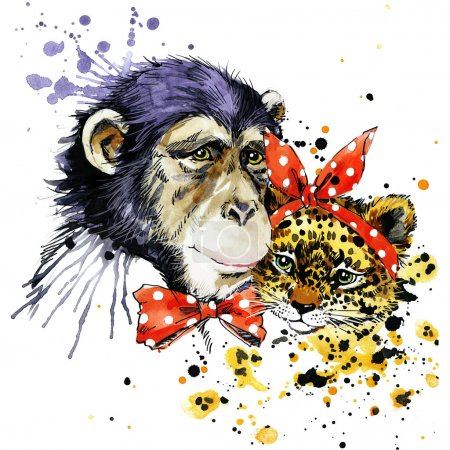Funny monkey, leopard with watercolor splash background