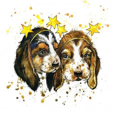 Funny puppy dog watercolor illustration