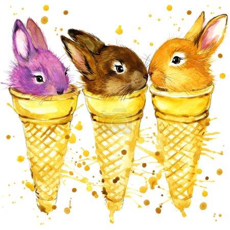 Funny rabbit watercolor illustration