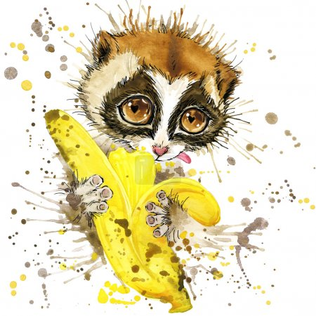 T-shirt graphics  lemur and banana, illustration watercolor