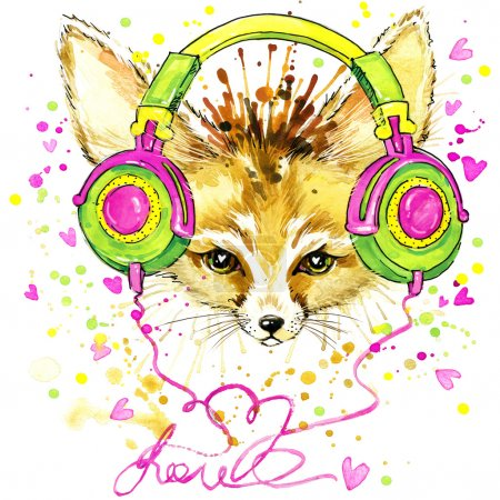 T-shirt graphics Fennec fox and fashionable headphones, illustration watercolor