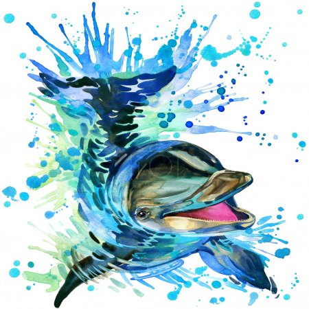 T-shirt graphics dolphin , illustration watercolor