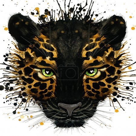 Jaguar illustration with splash watercolor textured background