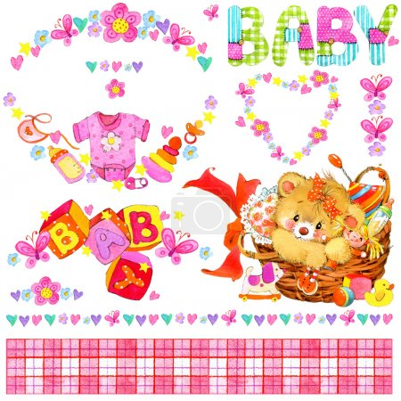 Newborn baby girl. watercolor elements for decor and design