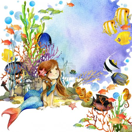 underwater world. Mermaid and fish coral reef. watercolor illustration for children