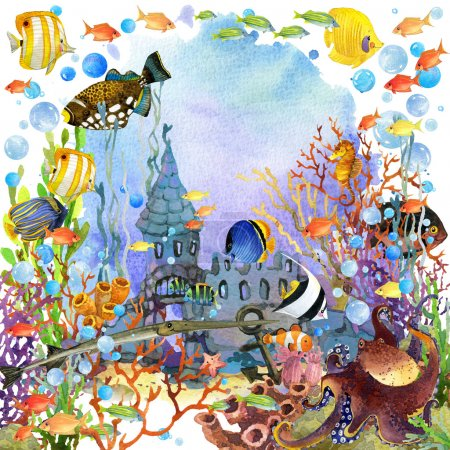 underwater world. coral reef fish watercolor illustration
