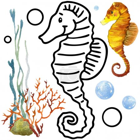 Coloring book coral reef fauna. Cartoon fish illustration.  Entertainment for kid