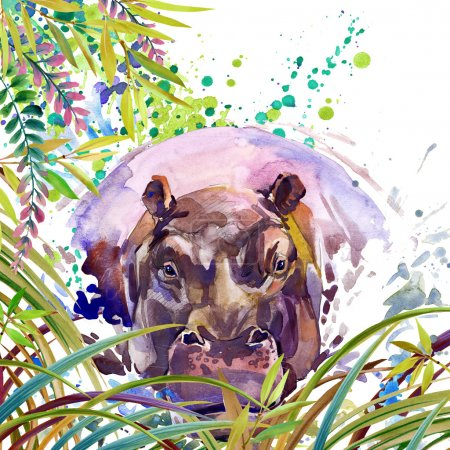 Tropical exotic forest, green leaves, wildlife, hippopotamus, watercolor illustration. watercolor background unusual exotic nature