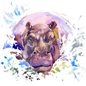 Hippopotamus T-shirt graphics,  African animals hippopotamus illustration with splash watercolor textured background. unusual illustration watercolor  hippopotamus fashion print, poster for textiles, fashion design
