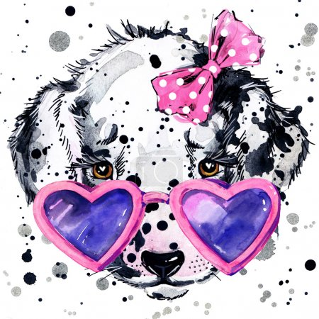 Dalmatian puppy dog T-shirt graphics. puppy dog illustration with splash watercolor textured  background. unusual illustration watercolor Dalmatian puppy fashion print, poster for textiles, fashion design