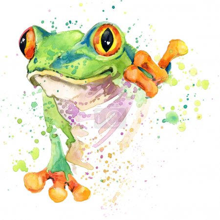 Funny frog T-shirt graphics. frog illustration with splash watercolor textured background. unusual illustration watercolor frog fashion print, poster for textiles, fashion design