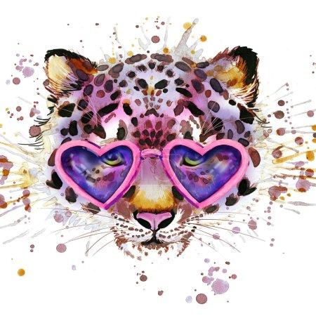 leopard T-shirt graphics. leopard illustration with splash watercolor textured  background. unusual illustration watercolor leopard fashion print, poster for textiles, fashion design