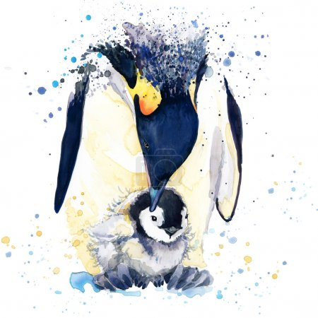 emperor penguin T-shirt graphics. emperor penguin illustration with splash watercolor textured background. unusual illustration watercolor penguin fashion print, poster for textiles, fashion design