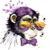Cool monkey T-shirt graphics. monkey illustration with splash watercolor textured background. unusual illustration watercolor monkey fashion print, poster for textiles, fashion design