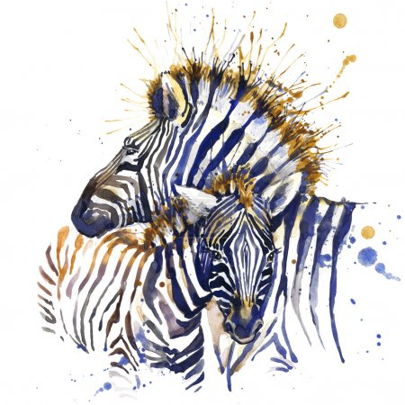 zebra T-shirt graphics. zebra illustration with splash watercolor textured background. unusual illustration watercolor zebra fashion print, poster for textiles, fashion design