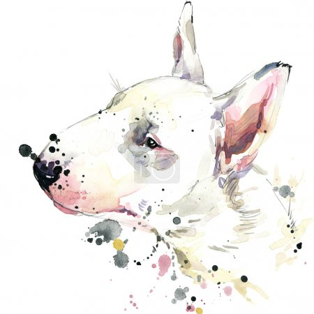 Bull Terrier dog T-shirt graphics. dog  illustration with splash watercolor textured  background. unusual illustration watercolor dog for fashion print, poster, textiles, fashion design