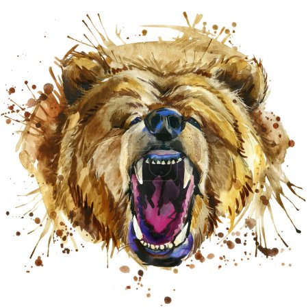 growling grizzly bear T-shirt graphics. bear illustration with splash watercolor textured  background. unusual illustration watercolor growling bear for fashion print, poster, textiles, fashion design