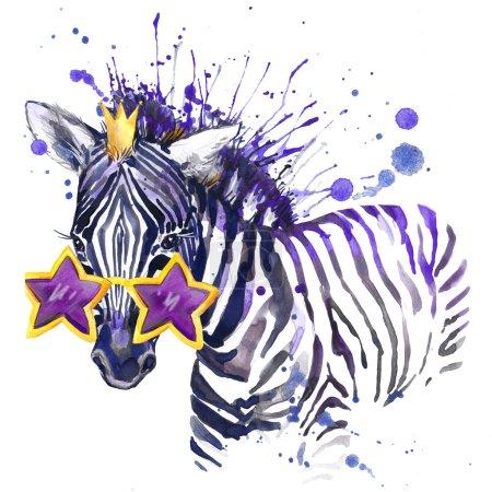 little zebra T-shirt graphics. little zebra illustration with splash watercolor textured  background. unusual illustration watercolor little zebra for fashion print, poster, textiles, fashion design