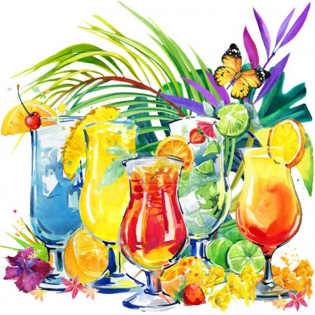 Photo pour Cocktail coloré. Illustration aquarelle dessinée à la main de fruits à cocktail et de feuilles tropicales - image libre de droit