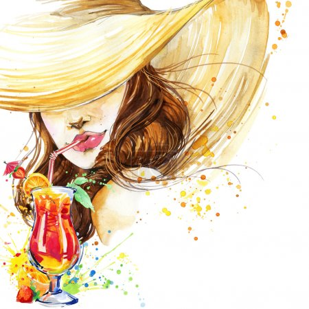 Photo pour Belle jeune femme avec cocktail de fruits. Fille et cocktail de plage. cocktail fond affiche de fête. illustration aquarelle - image libre de droit