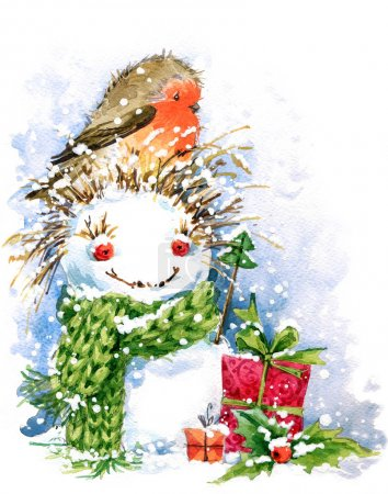 Christmas bird and Christmas background. watercolor illustration