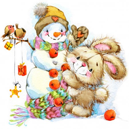 New Year and Christmas background for congratulations with funny Bunny.  watercolor illustration