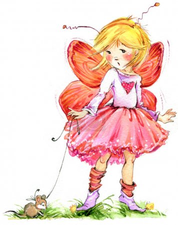 Funny children girl Fairy background. watercolor drawing