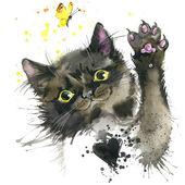 Schwarze Katze und ein Schmetterling T-shirt Grafiken. Schwarze Katze-Abbildung mit platsch Aquarell strukturierten Hintergrund. ungewöhnliche Abbildung Aquarell Kätzchen für Mode zu drucken, Poster, Textilien, Mode-design