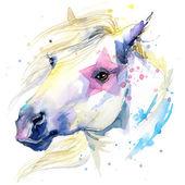 Pferd-Abbildung mit platsch Aquarell strukturierten Hintergrund