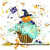 """Постер, картина, фотообои """"Хэллоуин тыква, продовольствия и магии ведьма шляпа. Акварельные иллюстрации фона"""""""