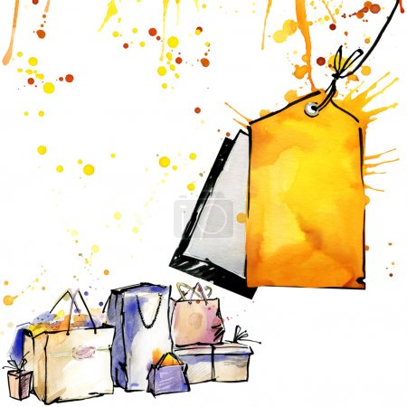packaging, bags, bag, buy, watercolor background autumn color, watercolor drips, splashes and drops texture