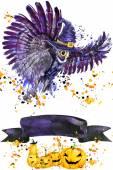 """Постер, картина, фотообои """"Хэллоуин сова и ведьма шляпа. Акварельные иллюстрации фона для праздника Хэллоуин. Акварель всплеск текстуры фона. Хэллоуин сова Иллюстрация"""""""
