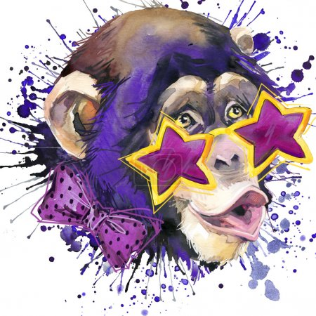 Cool monkey T-shirt graphics, monkey chimpanzee illustration with splash watercolor textured background. illustration watercolor monkey fashion print, poster for textiles, fashion design