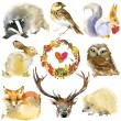 Forest animals set and autumn leaves wreath. water...