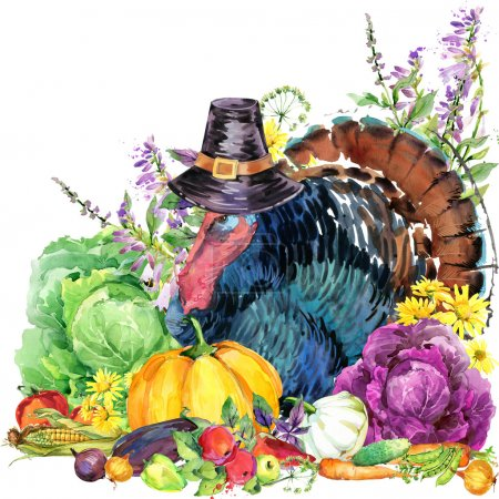 Happy Thanksgiving Day background with turkey,  hat for Thanksgiving, vegetables, fruits and flowers. watercolor illustration