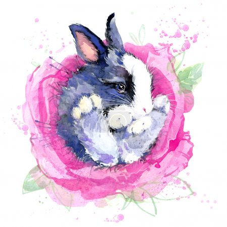 Cute bunny T-shirt graphics. bunny  illustration with splash watercolor textured background. unusual illustration watercolor bunny for fashion print, poster, textiles, fashion design